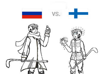 Hetalia Hockey - Russia vs. Finland by multiclaws