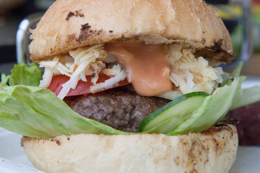 Home Made Burger With Thousand Island Dressing