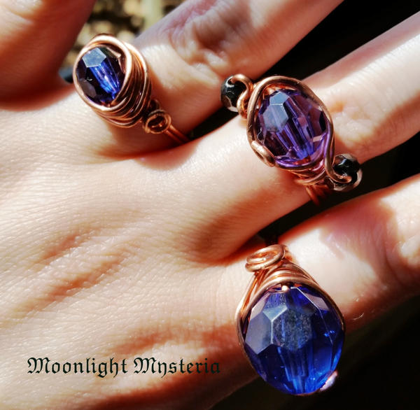Gold Copper Wire Recycled Blue Rings
