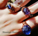 Gold Copper Wire Recycled Blue Rings by MoonlightMysteria