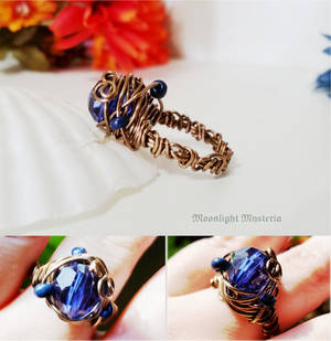 Wire Wrapped Blue Beaded Ring