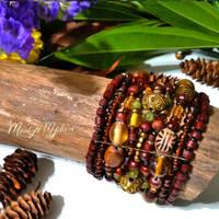 Earthy Wooden Beaded Stretch Bracelet