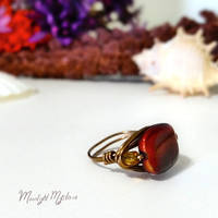 Red Glass Swirl Lentil Wire Wrapped Ring