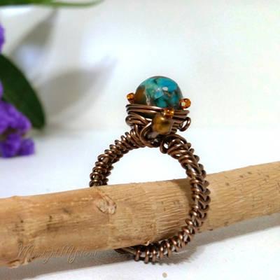 Earthy Jasper Beaded Brass Wirewrapped Ring