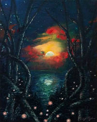Tangled Woods by a Moonlit Sea