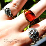 Assorted Wire Wrapped Rings by MoonlightMysteria