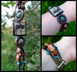 Earthy Dragonfly Beaded Bracelet