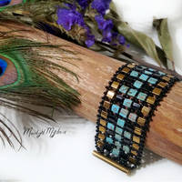 Bronze Turquoise Tila Bead Bracelet