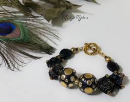 Black Gold Bulky Beaded Bracelet