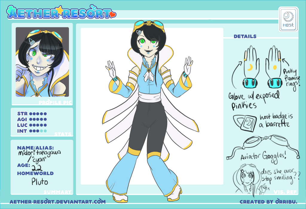 :.Aether Resort.: Cyan Ref by orribu