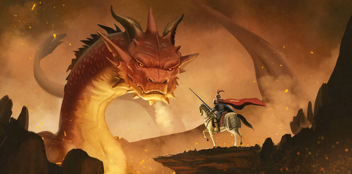 Dragon and knight