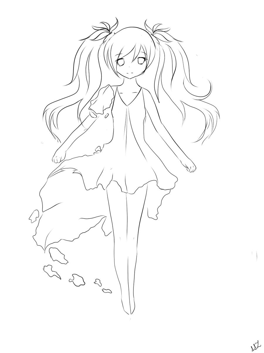 Anime Girl Lineart : Miku deep sea girl lineart plz read description by