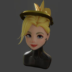 3D Bust of Mercy from Overwatch - Blender 2.8
