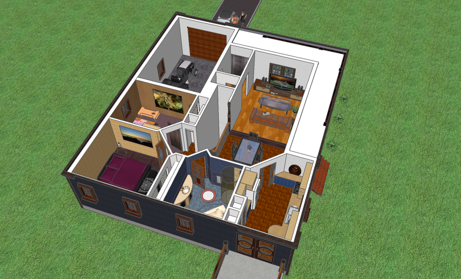 Maison 3d interieur by voodoo 666 on deviantart for Plan maison interieur 3d