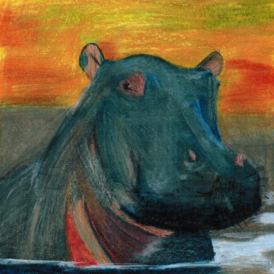 112 - Hippopotamus - Hippo by bernache-solitaire