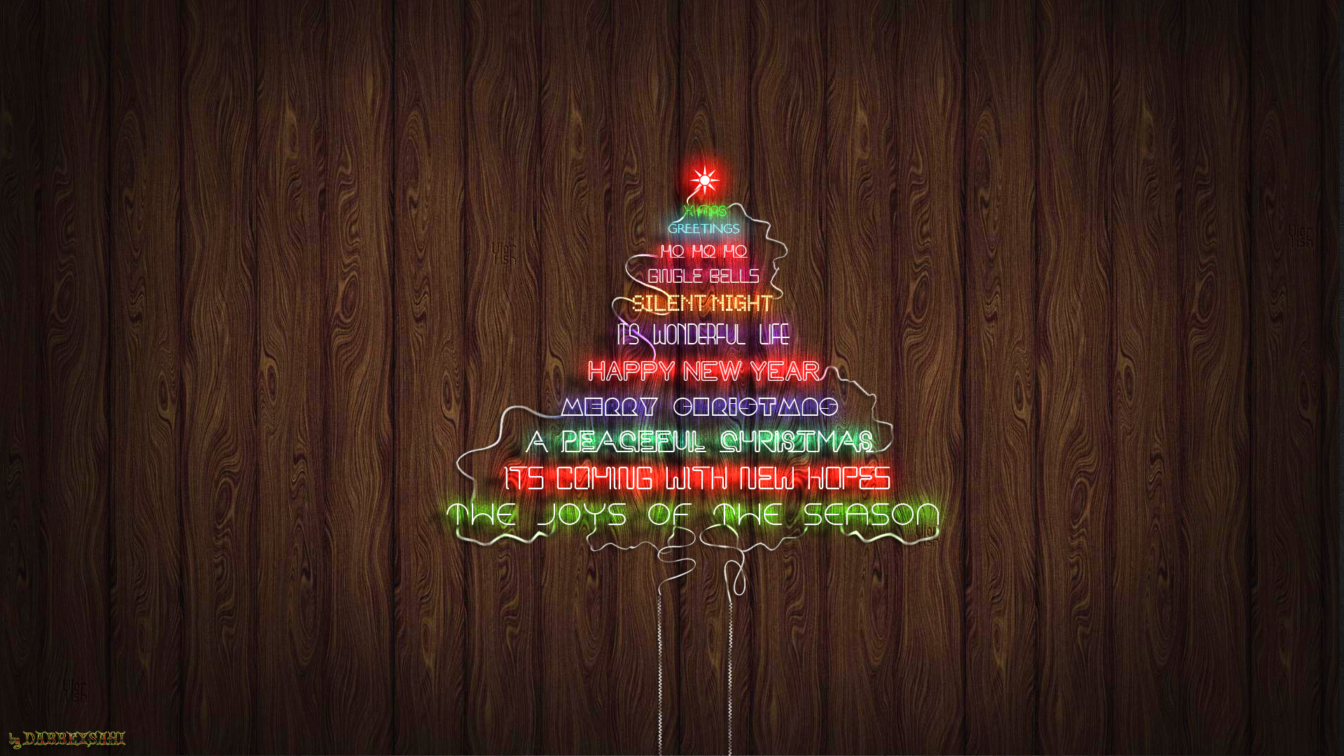 ... Christmas Neon Text Tree Wallpaper by dabbex30