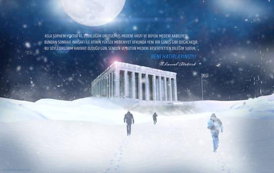 Ataturk Anitkabir Snowstorm Night Wallpaper