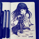 Inktober Day 10: Gentiana's Flowing Power by Kzira03