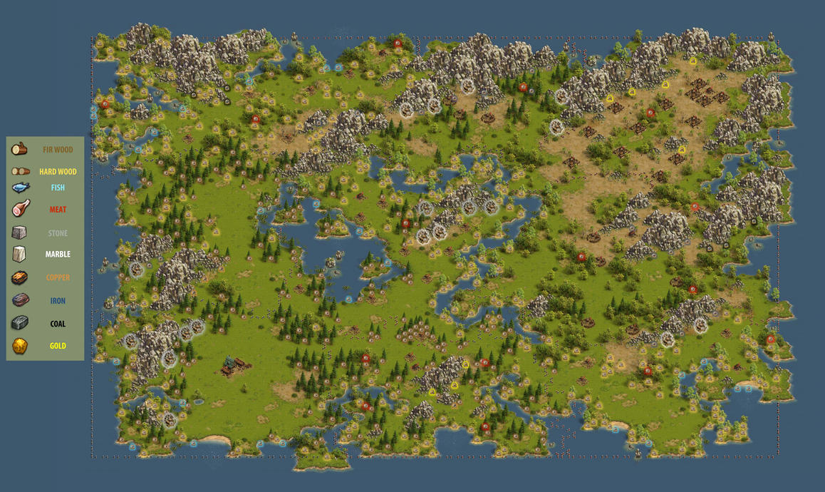 Settlers Online Resource Map by Draconaa