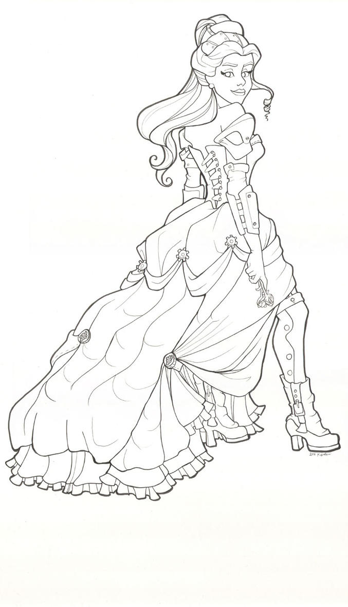 Steampunk Belle Line Drawing By Khallion On DeviantArt