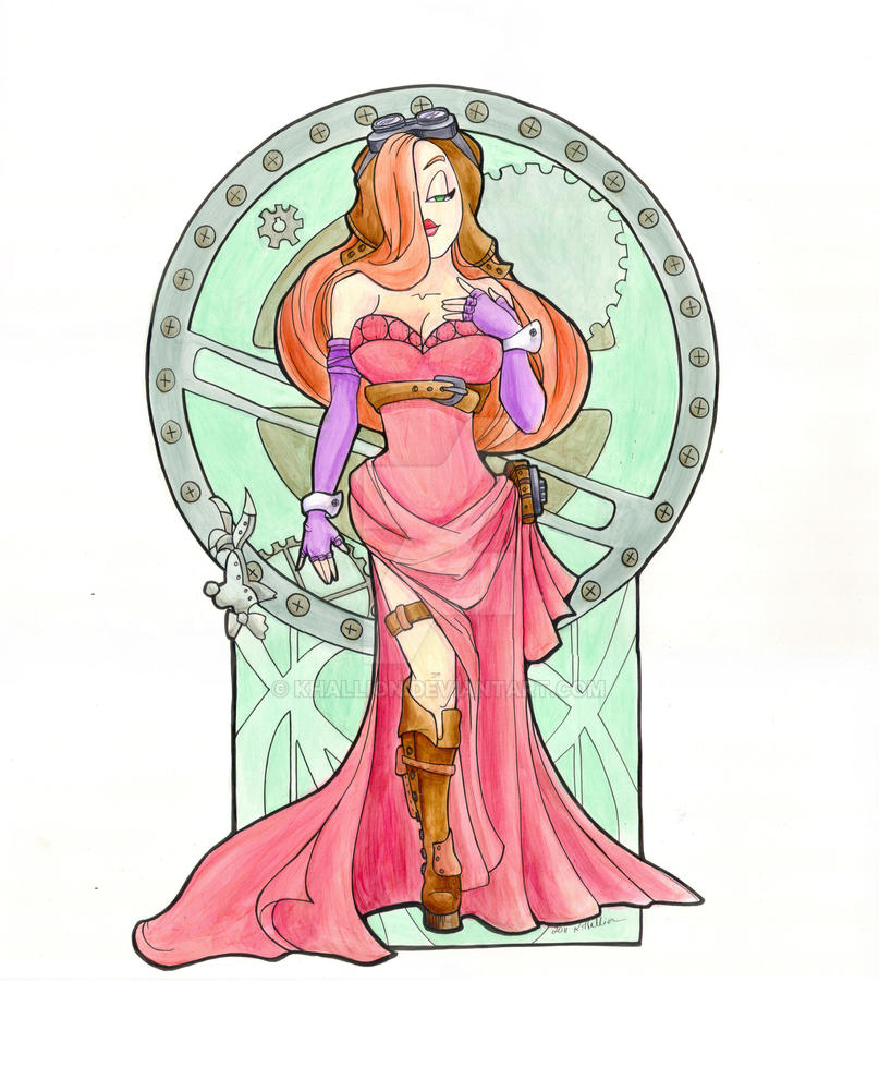 Steampunk Jessica Rabbit  Acrl by khallion