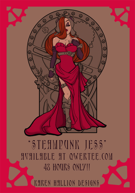 Steampunk Jess Qwertee Print by khallion