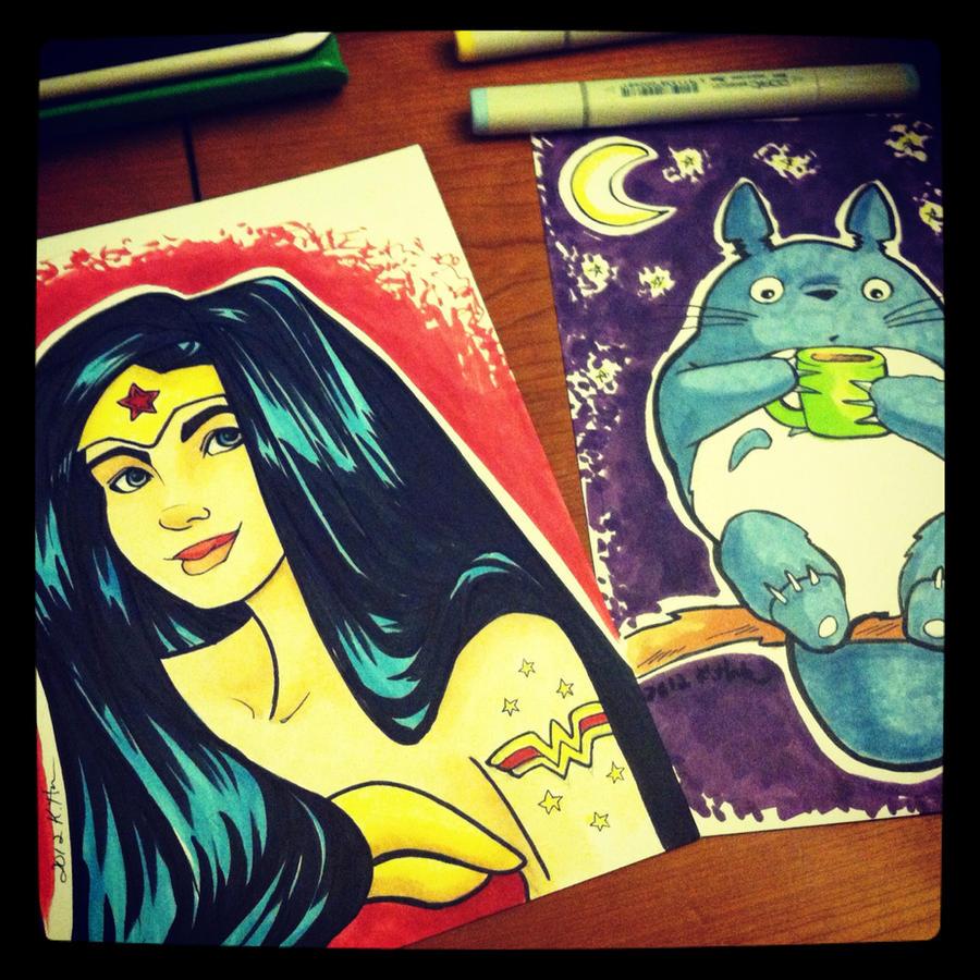 Wonder Woman and Totoro by khallion