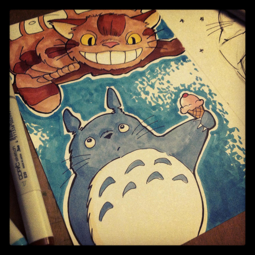 Totoro and Catbus by khallion