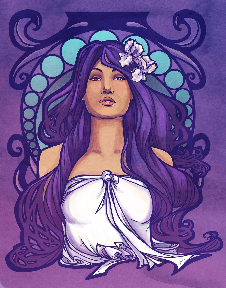 Iris Nouveau print by khallion