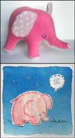 Sleepy Pink elephant by elbooga