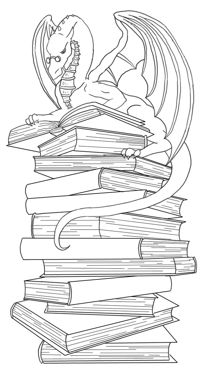 bookmark coloring pages - dragon bookmark lineart by ankaraven on deviantart
