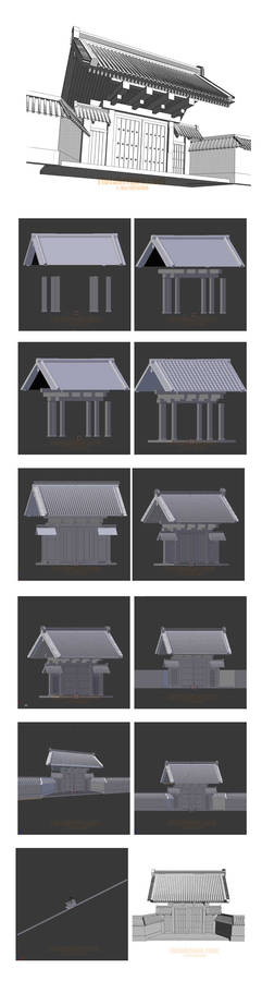 3D background (Japanese style gate)  for manga