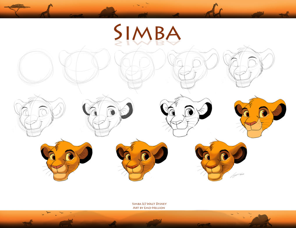 How to draw a simple emo face step 1 - How To Draw Simba Cub By Emo Hellion