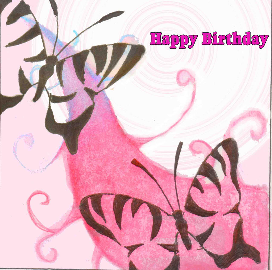 Happy birthday butterfly card allfreepapercrafts com - Butterfly Birthday Card By Sammiikinselwinsel On Deviantart Birthday Card