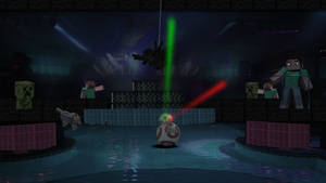 BB8, in Minecraft, at night club in 2130