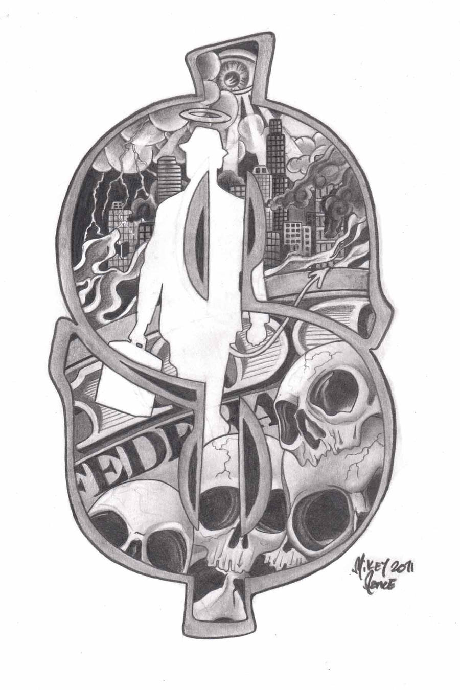 D Gangster Skull Tattoo Design   Pinteres