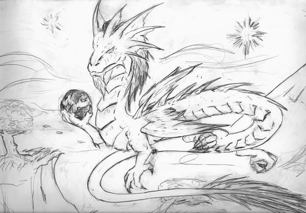Original sketch of dragon by Seferia