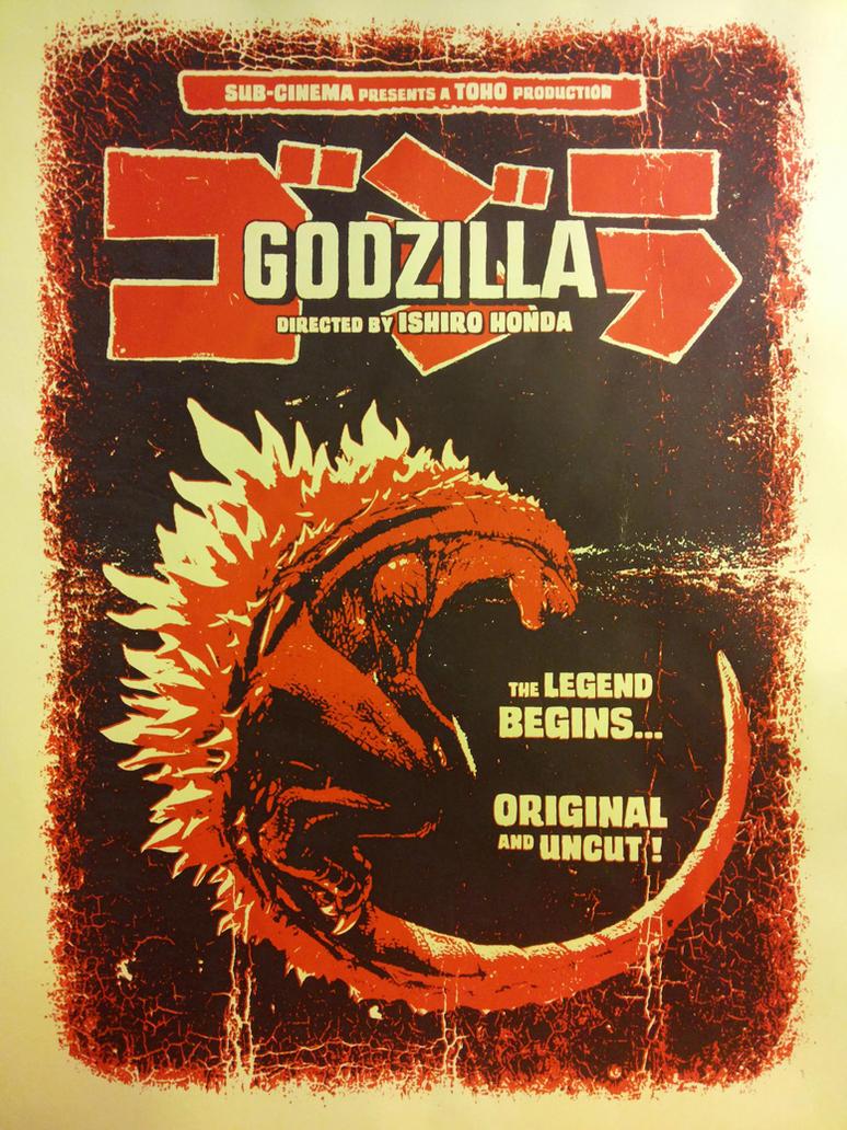 godzilla 1954 screenprint poster by r k n - Godzilla Pictures To Print