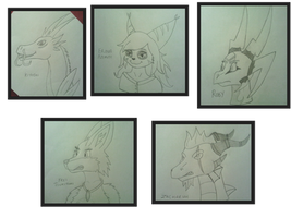 Head shot sketches 3 part 6-10 by Thornacious
