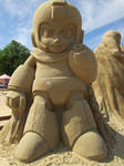 Mega Man Sand Sculpture