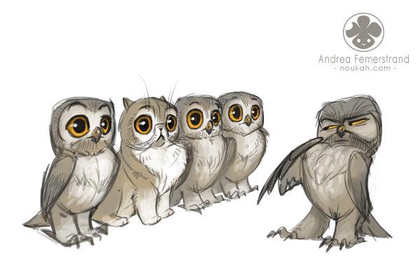 совы аниме рисунки