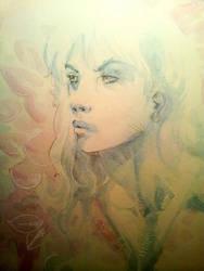 Watercolor Studey - Girl in Blue by dreamflux1