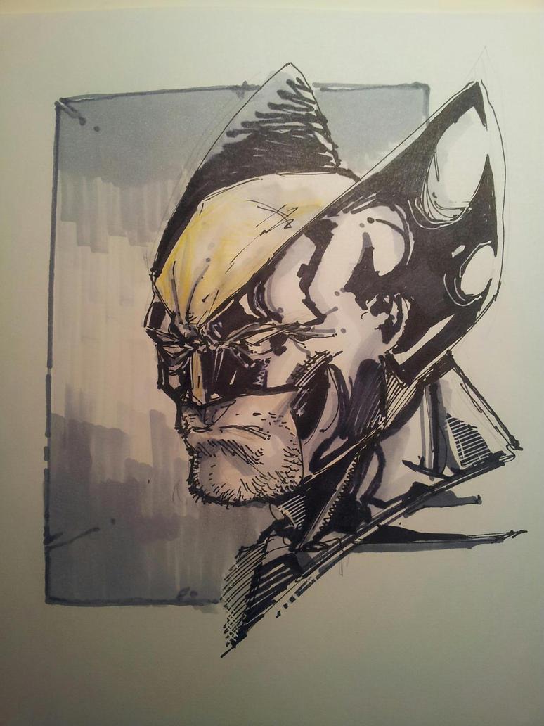 15 minute Wolverine Marker Sketch. by dreamflux1