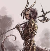 Tiefling axe maiden warrior by dreamflux1