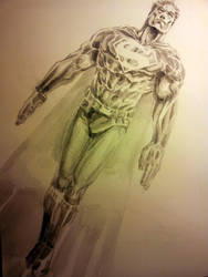 Superman Watercolor Gray scale. by dreamflux1