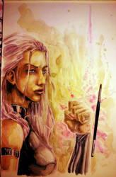 Psylocke Watercolored by dreamflux1