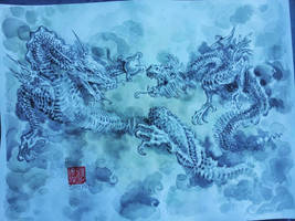 Traditional Asian Dragon painting. by dreamflux1