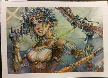 Lady Mechanika - Watercolor - Steampunk by dreamflux1