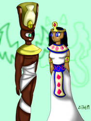 The pharaoh and the queen by Zoethemonster
