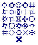 A biaxial symmetry alphabet
